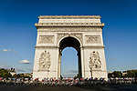 The peloton round the Arc de Triomphe during Stage 21 of the 2019 Tour de France running 128km from Rambouillet to Paris Champs-Elysees, France. 28th July 2019.<br /> Picture: ASO/Alex Broadway   Cyclefile<br /> All photos usage must carry mandatory copyright credit (© Cyclefile   ASO/Alex Broadway)