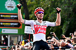Bauke Mollema (NED) Trek-Segafredo wins solo the 113th edition of Il Lombardia 2019 running 243km from Bergamo to Como, Italy. 12th Octobre 2019. <br /> Picture: Fabio Ferrari/LaPresse | Cyclefile<br /> <br /> All photos usage must carry mandatory copyright credit (© Cyclefile | LaPresse/Fabio Ferrari)
