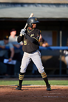 Bristol Pirates shortstop Victor Ngoepe (5) at bat during the first game of a doubleheader against the Bluefield Blue Jays on July 25, 2018 at Bowen Field in Bluefield, Virginia.  Bluefield defeated Bristol 6-3.  (Mike Janes/Four Seam Images)