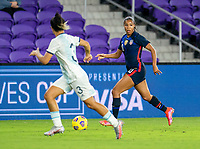 ORLANDO, FL - FEBRUARY 24: Margaret Purce #20 of the USWNT dribbles during a game between Argentina and USWNT at Exploria Stadium on February 24, 2021 in Orlando, Florida.