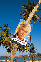 Dominikanische Republik, Playa Las Galeras auf der Samana-Halbinsel, Wahlplakat