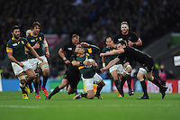 Bryan Habana of South Africa appears to be struck in the face during a tackle by Ben Smith of New Zealand during the Semi Final of the Rugby World Cup 2015 between South Africa and New Zealand - 24/10/2015 - Twickenham Stadium, London<br /> Mandatory Credit: Rob Munro/Stewart Communications