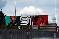 11th October 2020, Nuerburgring, Nuerburg, Germany; FIA Formula 1 Eifel Grand Prix, Race Day;  Lewis Hamilton GB 44, Mercedes-AMG Petronas F1 Team is shown on a display for his 91st F1 win