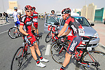 BMC Racing Team riders before the start of the 1st Stage of the 2012 Tour of Qatar running from Umm Slal Mohammed to Doha Golf Club, Doha, Qatar, 5th February 2012 (Photo Eoin Clarke/Newsfile)