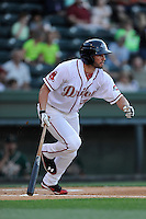 Left fielder Bo Greenwell (31) of the Greenville Drive bats bats in a game against the Greensboro Grasshoppers on Wednesday, May 7, 2014, at Fluor Field at the West End in Greenville, South Carolina. (Tom Priddy/Four Seam Images)