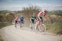 defending race champion Tiesj Benoot (BEL/Lotto-Soudal) on the white dust roads of Tuscany<br /> <br /> 13th Strade Bianche 2019 (1.UWT)<br /> One day race from Siena to Siena (184km)<br /> <br /> ©kramon