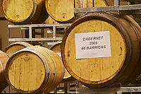 Stacks of oak barrels. Cabernet 2005 40 barriques Bodega Del Anelo Winery, also called Finca Roja, Anelo Region, Neuquen, Patagonia, Argentina, South America