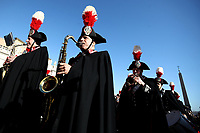Carabinieri's band perform in St. Peter's Square before the Pope Francis' Urbi et Orbi (In Latin 'to the city and to the world' ) Christmas' day blessing from the central loggia of St. Peter's Basilica on December 25, 2019.<br /> UPDATE IMAGES PRESS/Isabella Bonotto<br /> <br /> STRICTLY ONLY FOR EDITORIAL USE