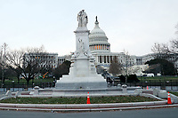 WASHINGTON, D.C. - JANUARY 8: View of the Peace Monument as the United States Capitol building now stands complete with non-scalable fencing and concrete barriers to prevent re-entry to the building after a mob of Donald Trump supporters rushed the US Capitol 2 days prior. Washington, D.C. on January 8, 2021. <br /> CAP/MPI34<br /> ©MPI34/Capital Pictures