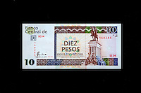 "Cuba, Havana.  ""Pesos Convertibles"", the pesos used by tourists in Cuba.  This is a 10 peso note."