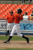 Frederick Keys outfielder Nick Markakis #21 during a Carolina League game at Harry Grove Stadium on May 5, 2005 in Frederick, Maryland.  (Mike Janes/Four Seam Images)