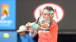Rafael Nadal (ESP) defeats Kei Nishikori (JPN) 7-6, 7-5, 7-6 at the Australian Open in Melbourne, Australia on January 2014