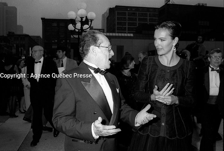 File Photo - French actress Carole Bouquet attend the <br /> Opening of the 1994 world film festival<br /> at Place-des-arts in Montreal, August 25, 1994<br /> <br />  Photo :  Agence Quebec Presse- Pierre Roussel