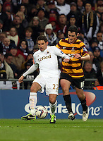 Pictured: Angel Rangel (L), Carl McHugh (R). Sunday 24 February 2013<br /> Re: Capital One Cup football final, Swansea v Bradford at the Wembley Stadium in London.