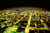 City; skyline; night; lights. San Francisco California.