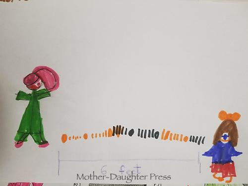 """Six Feet"" Drawing by Maria Muayad, Grade 2, Yarmouth, ME, USA"