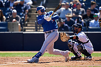 Toronto Blue Jays Danny Jansen (9) bats during a Spring Training game against the New York Yankees on February 22, 2020 at the George M. Steinbrenner Field in Tampa, Florida.  (Mike Janes/Four Seam Images)