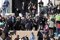 Washington, DC - March 18, 2015: His Royal Highness The Prince of Wales, accompanied by The Duchess of Cornwall, tours the Lincoln Memorial in the District of Columbia,  March 18, 2015, as part of a four-day USA visit. Prince Charles has officially visited the United States 19 times since 1970. (Photo by Don Baxter/Media Images International)