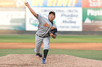 August 4, 2009: Boise Hawks' Su-Min Jung toes the rubber against the Everett AquaSox during a Northwest League game at Everett Memorial Stadium in Everett, Washington.