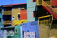 Life in Argentina in La Boca region of Buenos Aires with its famous wild primary colors.