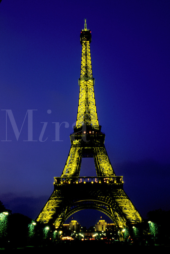 Eiffel Tower, Paris, France, Europe, The Eiffel Tower illuminated at night in Paris.