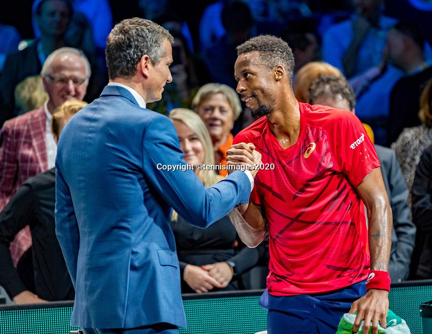 Rotterdam, The Netherlands, 16 Februari 2020, ABNAMRO World Tennis Tournament, Ahoy,<br /> Mens Single Final: Winner  Gaël Monfils (FRA) (R) receives congratulations from tournament dirctor Richard Krajicek <br /> Photo: www.tennisimages.com