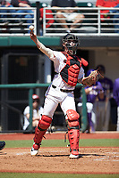 Georgia Bulldogs catcher Shane Marshall (32) makes a throw to first base against the LSU Tigers at Foley Field on March 23, 2019 in Athens, Georgia. The Bulldogs defeated the Tigers 2-0. (Brian Westerholt/Four Seam Images)