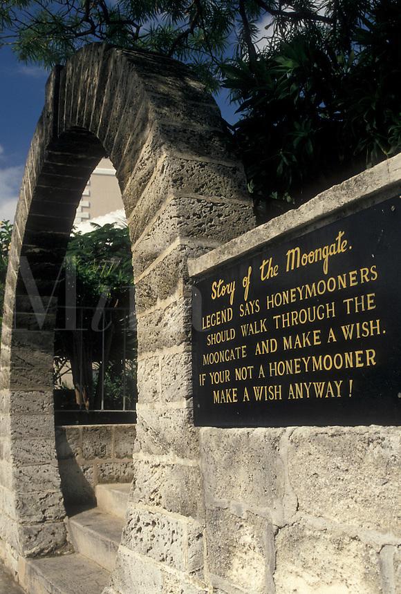 arch, Bermuda, Hamilton, Story of the Moongate in the town of Hamilton in Bermuda.