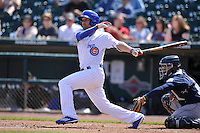 Iowa Cubs Kristopher Negron (19) swings during the game against the New Orleans Zephyrs at Principal Park on April 14, 2016 in Des Moines, Iowa.  The Cubs won 4-2 .  (Dennis Hubbard/Four Seam Images)