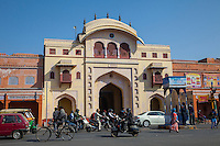 Jaipur, Rajasthan, India.  The Tripolia Gate, Royal Entrance into the City Palace.