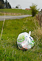 DISCARDED LITTER AT A LAY BY ON THE B822 TOWARDS FINTRY
