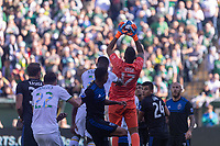 Portland, Oregon - Sunday October 6, 2019: Daniel Vega #17 goes up for a cross during a regular season match between Portland Timbers and San Jose Earthquakes at Providence Park in Portland, Oregon.