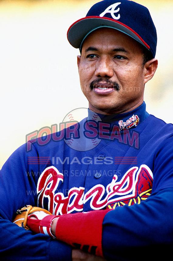Atlanta Braves Coach Rafael Belliard during a game at Dodger Stadium in Los Angeles, California during the 1997 season.(Larry Goren/Four Seam Images)
