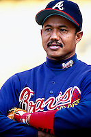 Atlanta Braves Coach Rafael Belliard during a game at Dodger Stadium in Los Angeles, California during the 1997 season.(Larry Goren/Four Seam Images)