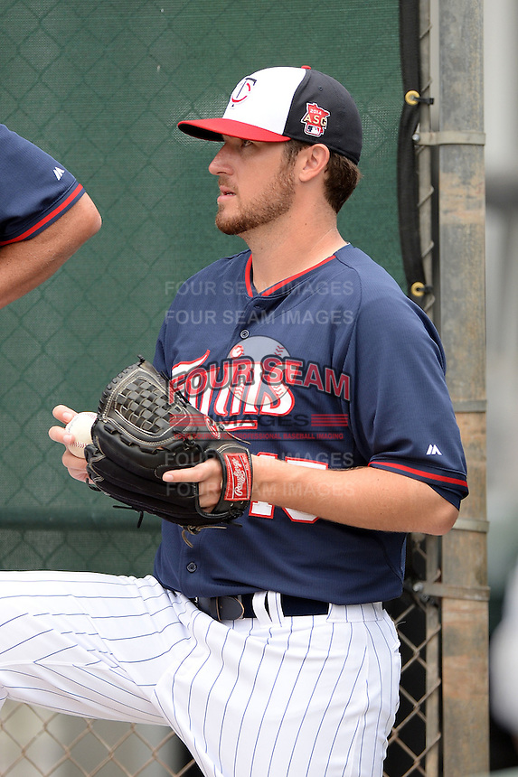 Pitcher Phil Hughes (45) of the Minnesota Twins during practice on February 25, 2014 at Hammond Stadium in Fort Myers, Florida.  (Mike Janes Photography)