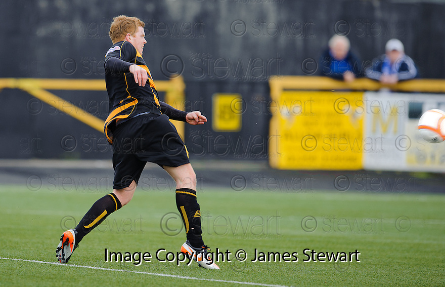 Ryan McCord (8) scores Alloa's third.