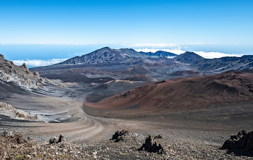 The crater of Mount Haleakala, at 10,000 feet above sea level, on the island of Maui, as seen from the western rim near the Visitor Center.