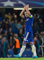John Terry of Chelsea applauds the supporters during the UEFA Champions League Group G match between Chelsea and Dynamo Kyiv at Stamford Bridge, London, England on 4 November 2015. Photo by Andy Rowland.
