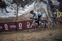 Ellen Van Loy (BEL/Telenet-Fidea) & Katie Kompton (USA) dueling it out<br /> <br /> Women's Race<br /> UCI 2017 Cyclocross World Championships<br /> <br /> january 2017, Bieles/Luxemburg