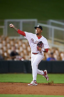 Glendale Desert Dogs shortstop J.P. Crawford (4) throws to first during an Arizona Fall League game against the Salt River Rafters on October 21, 2015 at Camelback Ranch in Glendale, Arizona.  Glendale defeated Salt River 1-0.  (Mike Janes/Four Seam Images)