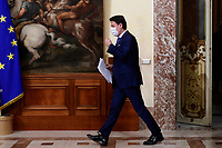 The Italian Prime Minister Giuseppe Conte wearing a face mask during the press conference about the Government decree containing measures to contrast Covid-19 emergency in Christmas time.  <br /> Rome (Italy), December 4th 2020<br /> Photo Pool Augusto Casasoli Insidefoto