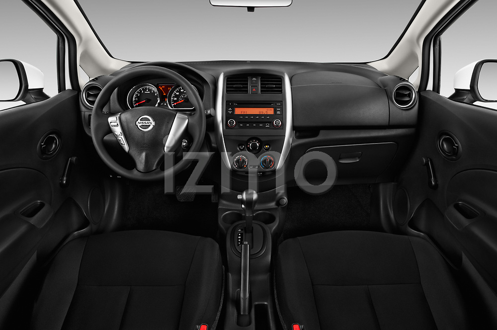 Stock photo of straight dashboard view of 2017 Nissan Versa-Note S-Plus 5 Door Hatchback Dashboard