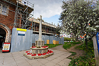 The War Memorial outside the Church of St Mary in Totnes, England, UK. Wednesday 14 April 2021