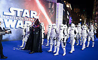 """Darth Vader and Stormtroopers<br /> arriving for the """"Star Wars: The Rise of Skywalker"""" premiere at the Cineworld Leicester Square, London.<br /> <br /> ©Ash Knotek  D3545 17/12/2019"""