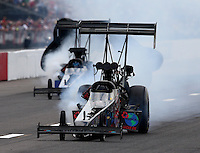 Sep 28, 2013; Madison, IL, USA; NHRA top fuel dragster driver Scott Palmer during qualifying for the Midwest Nationals at Gateway Motorsports Park. Mandatory Credit: Mark J. Rebilas-