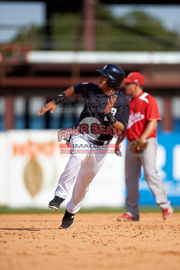 Detroit Tigers shortstop Dixon Machado (49) running the bases during an exhibition game against the Florida Southern Moccasins on February 29, 2016 at Joker Marchant Stadium in Lakeland, Florida.  Detroit defeated Florida Southern 7-2.  (Mike Janes/Four Seam Images)