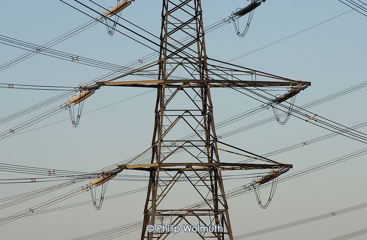 Electricity pylons close to Sizewell nuclear power station, Suffolk.