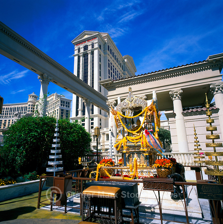 Las Vegas, Nevada, USA - Four-Faced Brahma Shrine at Caesars Palace along The Strip (Las Vegas Boulevard)