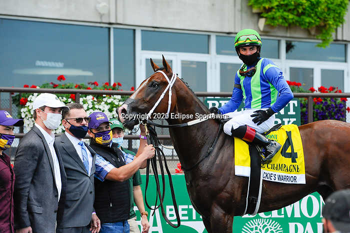 October 10, 2020: Jackie's Warrior, ridden by Joel Rosario, wins the 2020 running of the G1 Champagne S. at Belmont Park in Elmont, NY. Sophie Shore/ESW/CSM