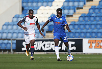 Colchester United's Kwame Poku and Bolton Wanderers' Liam Gordon<br /> <br /> Photographer Rob Newell/CameraSport<br /> <br /> The EFL Sky Bet League Two - Colchester United v Bolton Wanderers - Saturday 19th September 2020 - Colchester Community Stadium - Colchester<br /> <br /> World Copyright © 2020 CameraSport. All rights reserved. 43 Linden Ave. Countesthorpe. Leicester. England. LE8 5PG - Tel: +44 (0) 116 277 4147 - admin@camerasport.com - www.camerasport.com